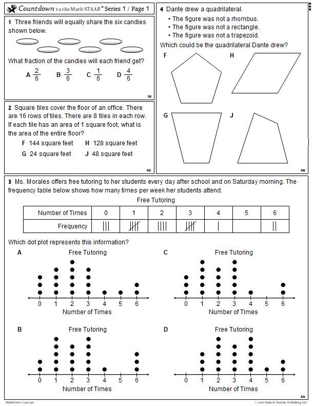 photo relating to 6th Grade Math Tests Printable referred to as Math STAAR Prep Texas Math STAAR Consider Examine MathWarm-Ups