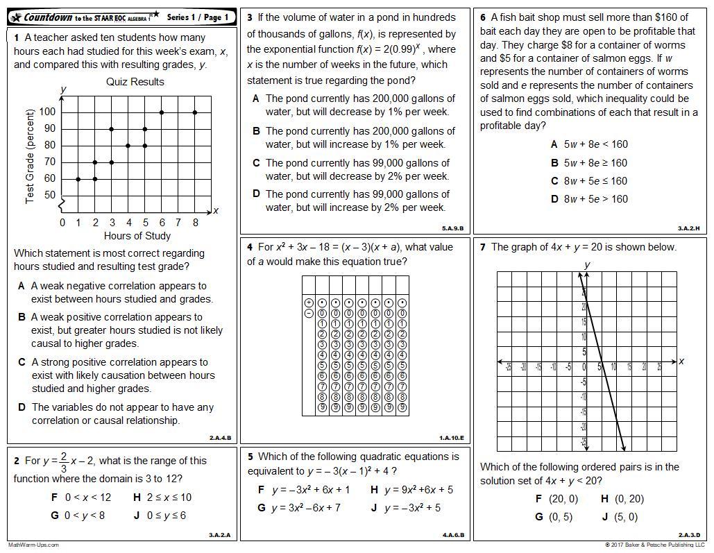 Algebra I EOC| EOC Prep | Algebra I End of Year Review | Algebra I